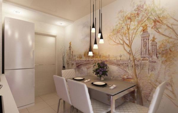 Оформление стен кухни обоями