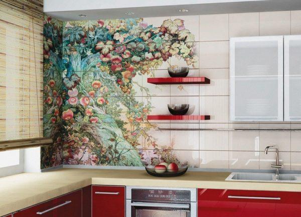 Декупаж кухонной плитки на стене