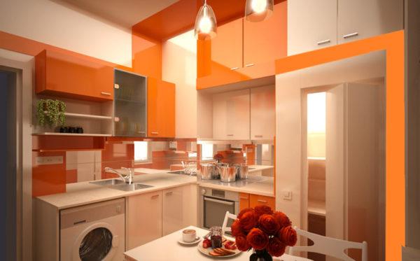 Дизайн кухни в оранжевом цвете стимулирует аппетит