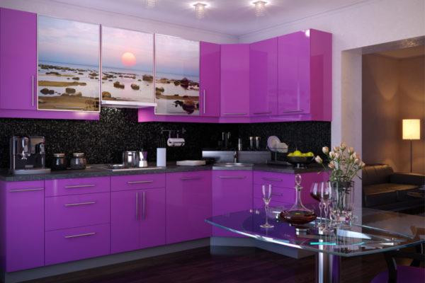 Кухня в фиолетовом цвете