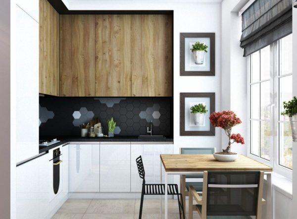 Угловая планировка - самый оптимальный вариант для небольшой прямоугольной кухни, совмещенной с гостиной