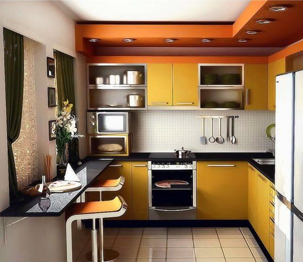 В зависимости от типа планировки кухни, выбирают мебель и бытовую технику.