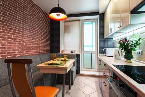 Дивани в обеденной зоне на маленькой кухне 3