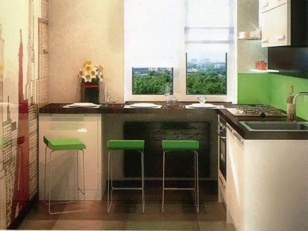 Такой выбор обеденной зоны будут очень удачным для вашей тесной кухни