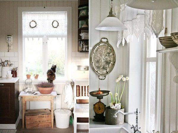 Занавески с элементами вязки на кухне в стиле прованс