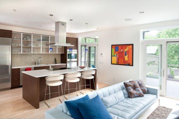 Кухня совмещенная с гостиной фото