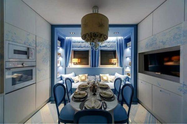 Дизайн интерьера кухни с диваном в эркере длиной 3 м