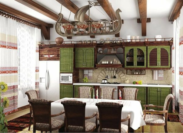На украинской кухне используют преимущественно светлые тона, а темные применяют в качестве небольших акцентов, чтобы интерьер не казался мрачным и неуютным