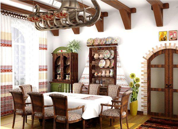 Украинский стиль приветствует использование дополнительных ниш для посуды и различной утвари в стенах кухни