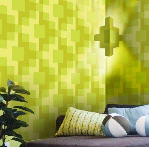 Абстрактные и геометрические узоры визуально увеличивают пространство помещения.