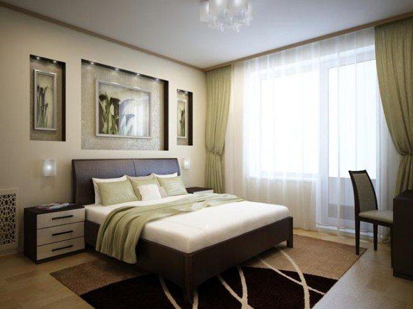 Бежевые шторы в спальню и строгий стиль пространства – прекрасный тандем.