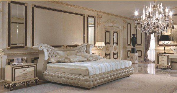 Более современный и по-своему интересный интерьер элитной спальни