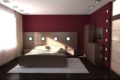 Бордовая расцветка спальни