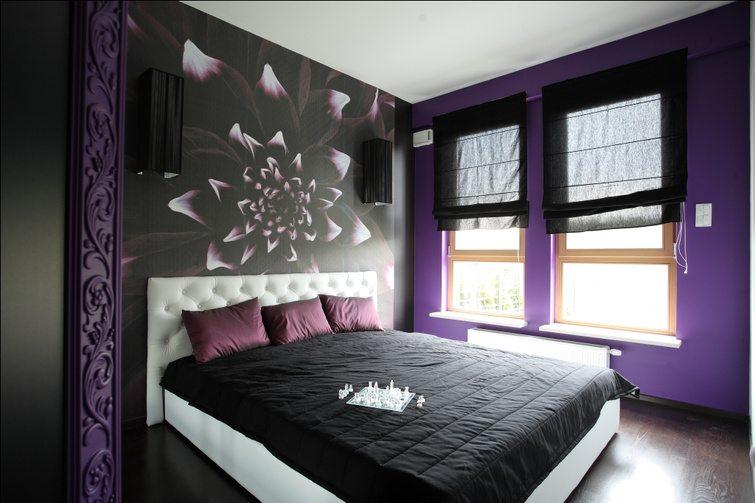 Черно-фиолетовая спальня – для экстравагантных личностей