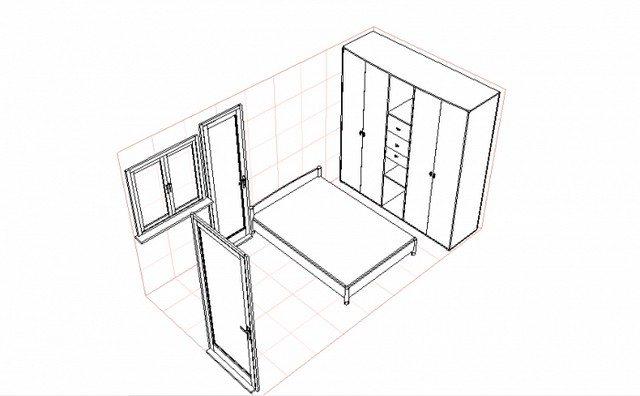 Чертеж помещения с расположением всех необходимых элементов