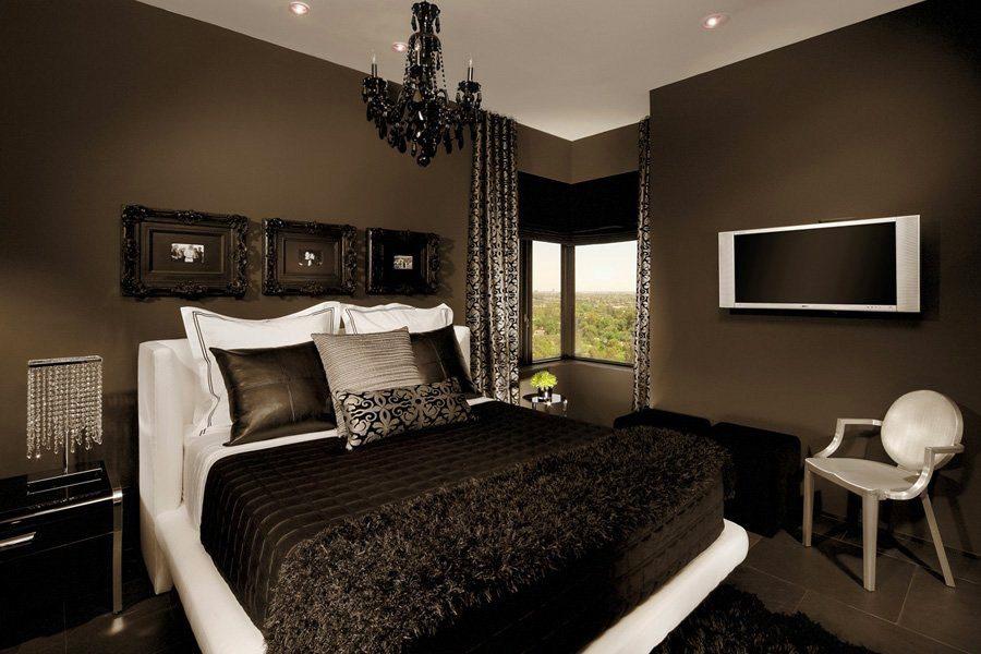 Шоколадная спальня дизайн фото