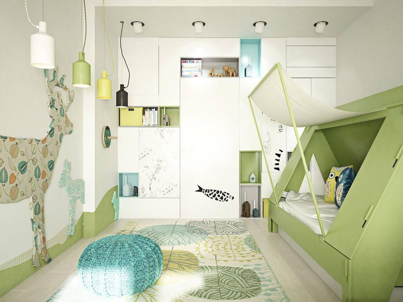 декоративный дизайн освещения в детской спальне
