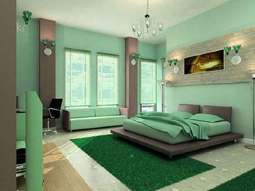 Дизайн комнаты по фен-шуй с картиной над кроватью.