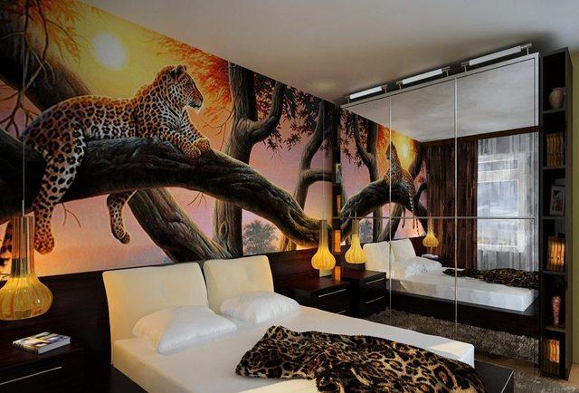 Дизайн комнаты с фотообоями, удачно подобранные аксессуары -и стильный интерьер готов.