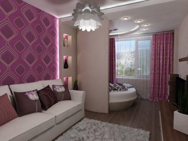 Дизайн спальни-гостиной, расположенной в одной комнате, общая площадь которой равна 15 кв. м.
