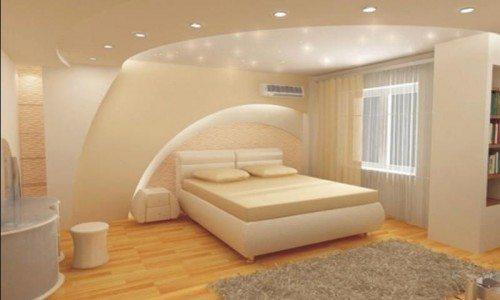 Дизайн спальни с применением конструкций из гипсокартона