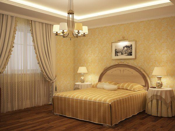 Дизайн спальной комнаты в светлых тонах.