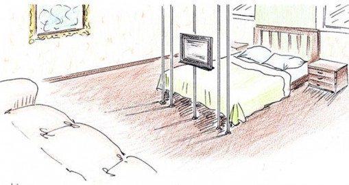 Для максимального удобства подходы к кровати лучше оставить с двух сторон