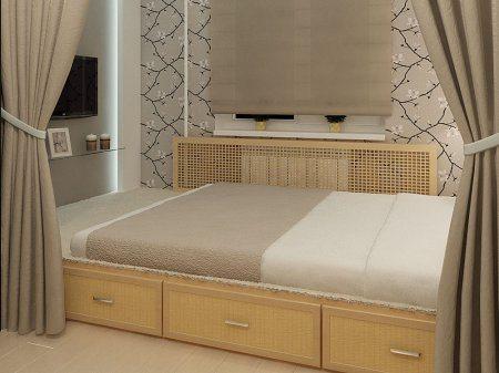 Двуспальная кровать на подиуме с выдвижными ящиками