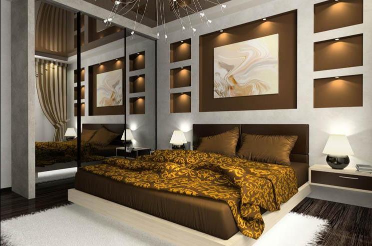 Эффектно подсвеченные ниши гармонично сочетаются с декором текстиля и оформлением потолка