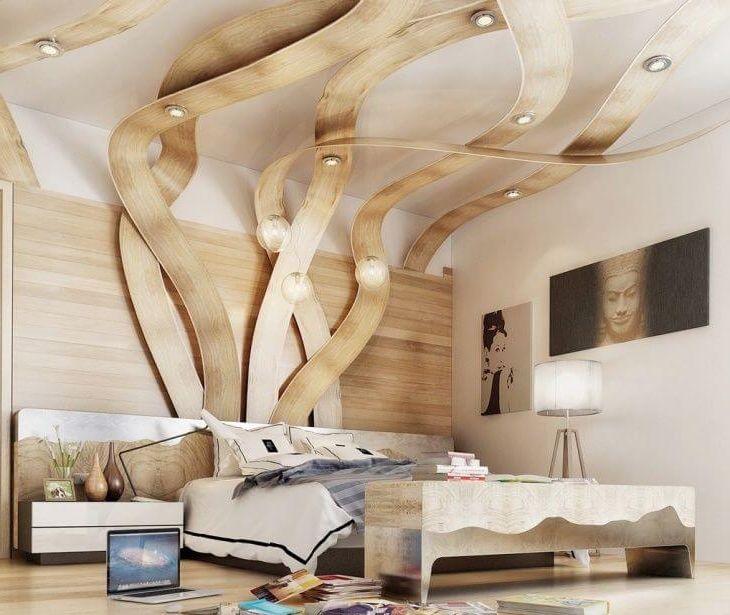 элегантная дизайнерская идея освещения в спальне