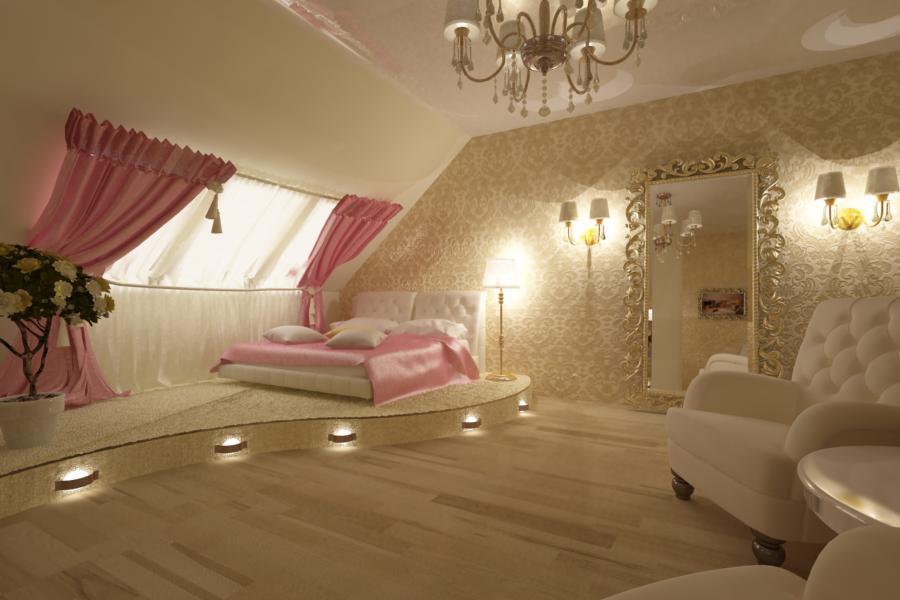 Элегантная и красивая спальня в мансарде