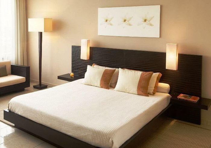 элегантная минималистическая идея освещения в спальне в европе