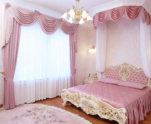 Элитные шторы для спальни с ламбрекенами и подвязками