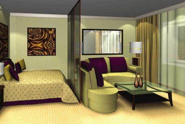 Еще один вариант зонирования спальни и гостиной