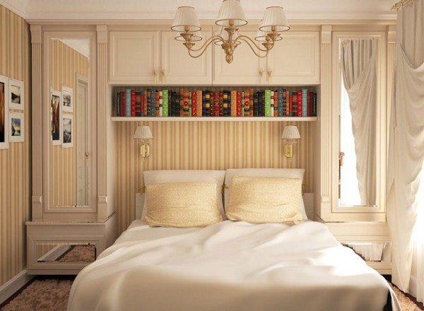 Это, скорее, дизайн спальни 3 на 3 на 5 – причём 3 на 5 внизу, в таких стеснённых условиях даже дополнительные полметра уже играют значение (фото «А»)