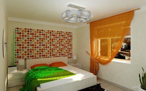 Фото: белая спальня в современном стиле с яркими акцентами