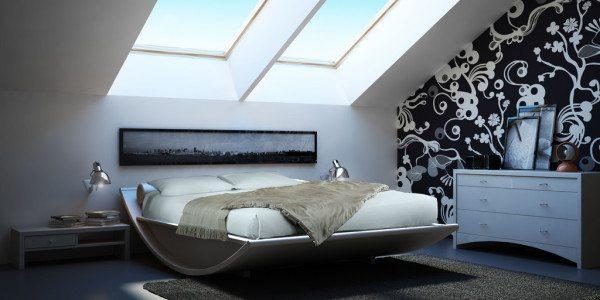 Фото дизайнерской комнаты в мансарде.