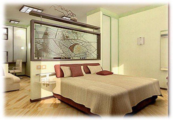 Фото идеального разделения на гостиную и спальню помещения