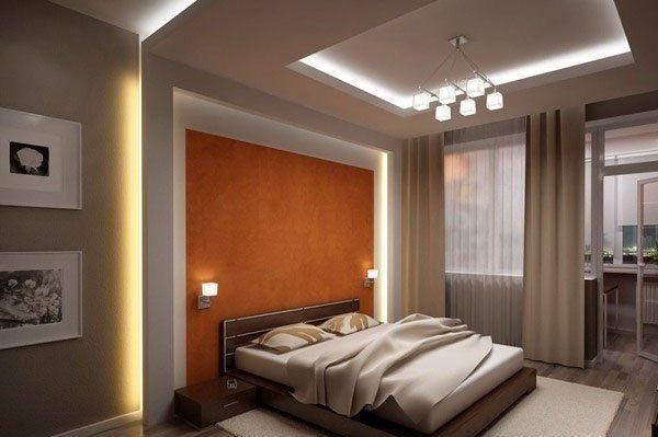 Фото интерьера спальни с использованием конструкций из гипсокартона