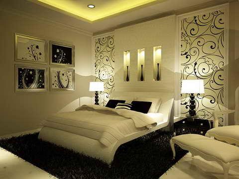 Фото оформления стен в спальне