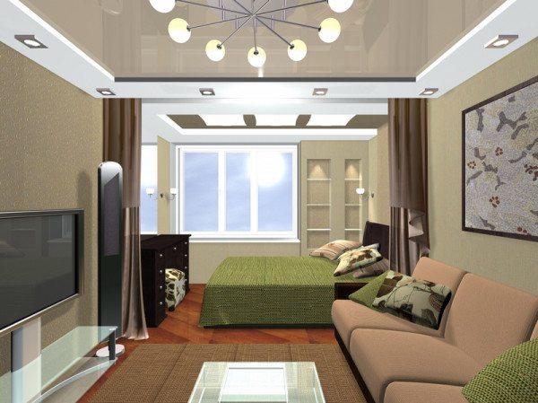 Фото проекта гостиной и спальни в одной комнате