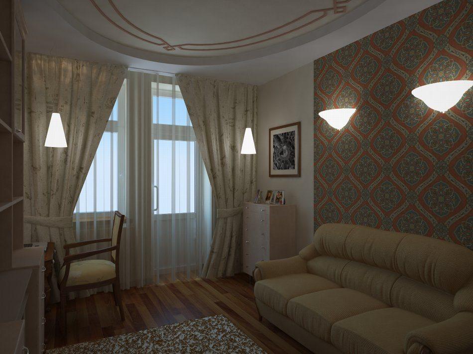 Интерьер спальни с диваном фото