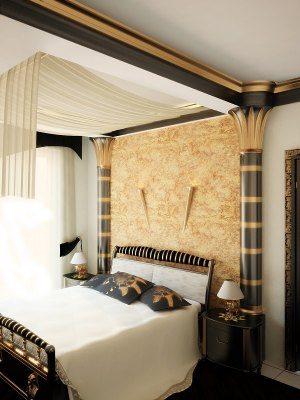 Фото роскошной спальни в египетском стиле