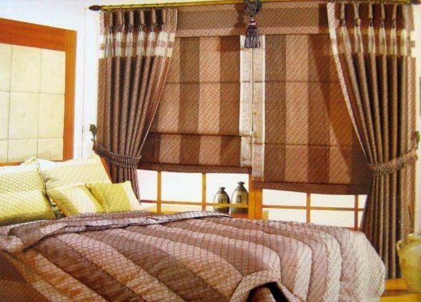 Фото рулонных штор в спальне