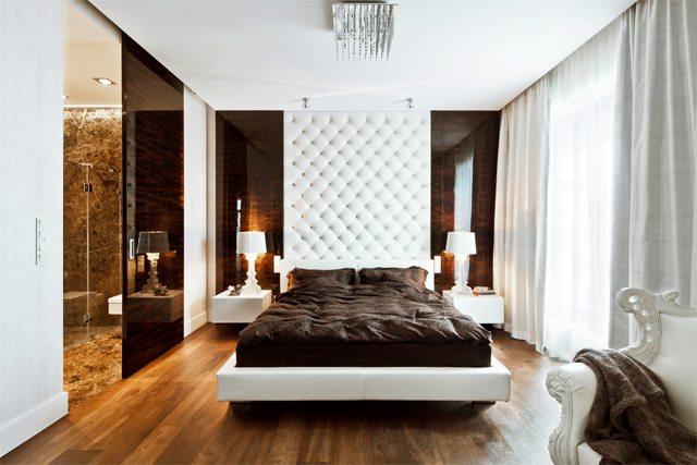 Фото современной спальни в темно-белом сочетании.