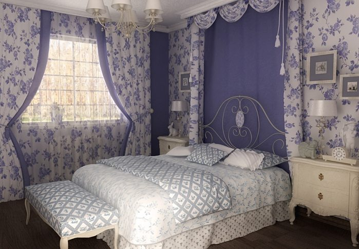 Фото спальни, оформленной в лавандовом и белом тоне.