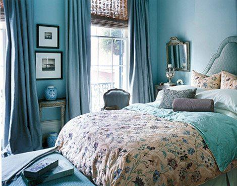 Фото спальни в бирюзовых цветах