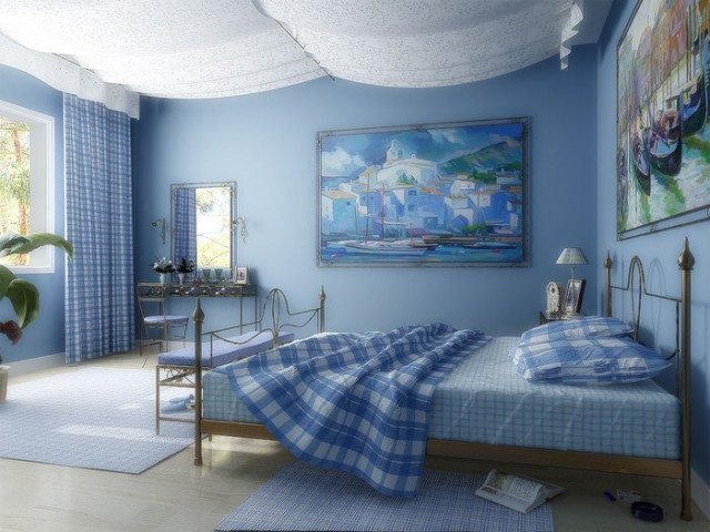 Фото спальни в сине-белом тоне