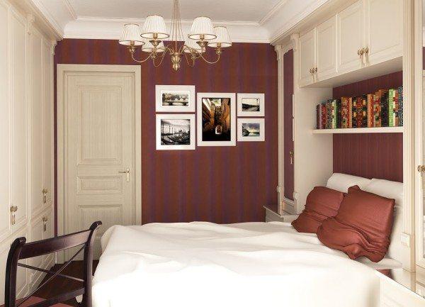 Фото стильной спальни маленькой площади