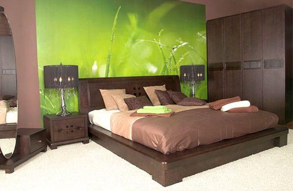 Фото: зеленый цвет просто идеален для зоны отдыха, и иногда достаточно оформить только одну плоскость, чтобы получить уникальный стиль.